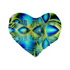 Crystal Lime Turquoise Heart Of Love, Abstract 16  Premium Heart Shape Cushion