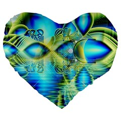 Crystal Lime Turquoise Heart Of Love, Abstract 19  Premium Heart Shape Cushion