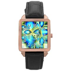 Crystal Lime Turquoise Heart Of Love, Abstract Rose Gold Leather Watch