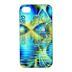 Crystal Lime Turquoise Heart Of Love, Abstract Apple iPhone 4/4S Hardshell Case with Stand