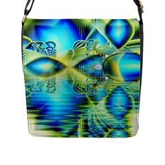 Crystal Lime Turquoise Heart Of Love, Abstract Flap Closure Messenger Bag (Large)