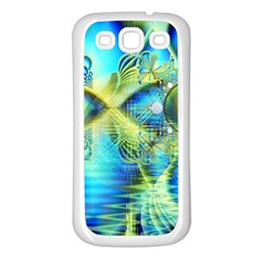 Crystal Lime Turquoise Heart Of Love, Abstract Samsung Galaxy S3 Back Case (White)