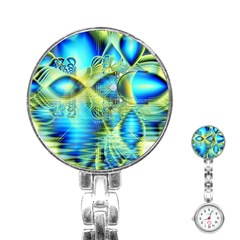 Crystal Lime Turquoise Heart Of Love, Abstract Stainless Steel Nurses Watch