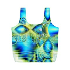 Crystal Lime Turquoise Heart Of Love, Abstract Reusable Bag (M)