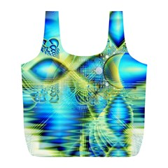 Crystal Lime Turquoise Heart Of Love, Abstract Reusable Bag (l)