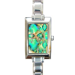 Golden Teal Peacock, Abstract Copper Crystal Rectangular Italian Charm Watch