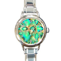Golden Teal Peacock, Abstract Copper Crystal Round Italian Charm Watch