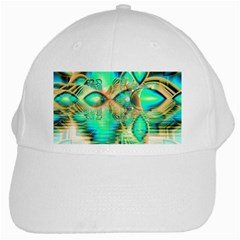 Golden Teal Peacock, Abstract Copper Crystal White Baseball Cap