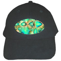 Golden Teal Peacock, Abstract Copper Crystal Black Baseball Cap