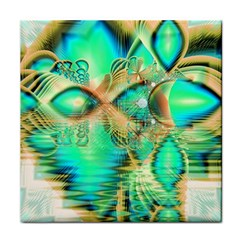 Golden Teal Peacock, Abstract Copper Crystal Ceramic Tile
