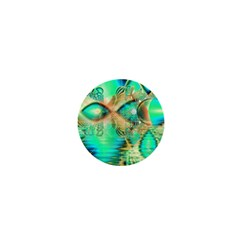 Golden Teal Peacock, Abstract Copper Crystal 1  Mini Button