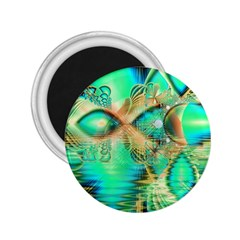 Golden Teal Peacock, Abstract Copper Crystal 2 25  Button Magnet
