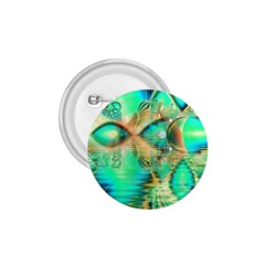 Golden Teal Peacock, Abstract Copper Crystal 1.75  Button