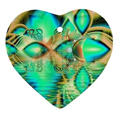 Golden Teal Peacock, Abstract Copper Crystal Heart Ornament