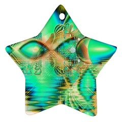 Golden Teal Peacock, Abstract Copper Crystal Star Ornament