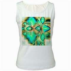 Golden Teal Peacock, Abstract Copper Crystal Women s Tank Top (White)