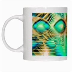 Golden Teal Peacock, Abstract Copper Crystal White Coffee Mug