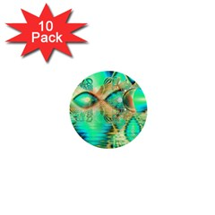 Golden Teal Peacock, Abstract Copper Crystal 1  Mini Button (10 pack)