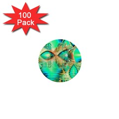 Golden Teal Peacock, Abstract Copper Crystal 1  Mini Button (100 pack)