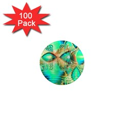 Golden Teal Peacock, Abstract Copper Crystal 1  Mini Button Magnet (100 pack)
