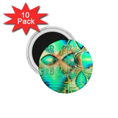 Golden Teal Peacock, Abstract Copper Crystal 1.75  Button Magnet (10 pack)