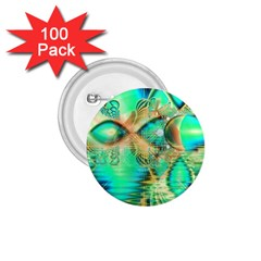Golden Teal Peacock, Abstract Copper Crystal 1 75  Button (100 Pack)