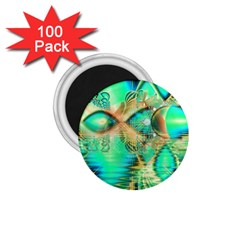 Golden Teal Peacock, Abstract Copper Crystal 1.75  Button Magnet (100 pack)