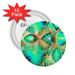 Golden Teal Peacock, Abstract Copper Crystal 2.25  Button (10 pack)