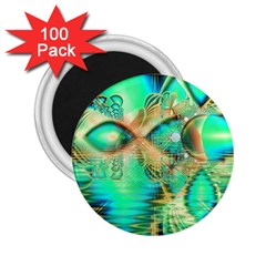 Golden Teal Peacock, Abstract Copper Crystal 2.25  Button Magnet (100 pack)