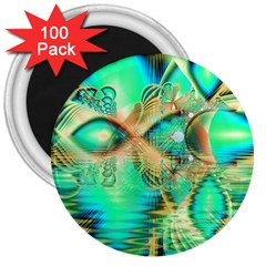 Golden Teal Peacock, Abstract Copper Crystal 3  Button Magnet (100 pack)