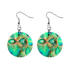 Golden Teal Peacock, Abstract Copper Crystal Mini Button Earrings