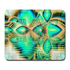 Golden Teal Peacock, Abstract Copper Crystal Large Mouse Pad (Rectangle)