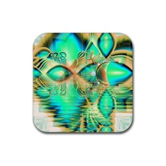 Golden Teal Peacock, Abstract Copper Crystal Drink Coasters 4 Pack (Square)