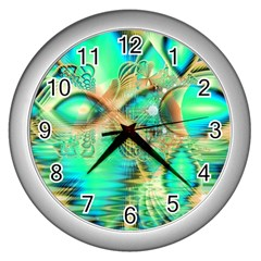 Golden Teal Peacock, Abstract Copper Crystal Wall Clock (Silver)