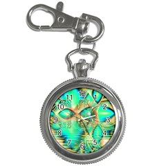 Golden Teal Peacock, Abstract Copper Crystal Key Chain Watch