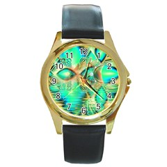 Golden Teal Peacock, Abstract Copper Crystal Round Leather Watch (gold Rim)