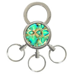 Golden Teal Peacock, Abstract Copper Crystal 3-Ring Key Chain