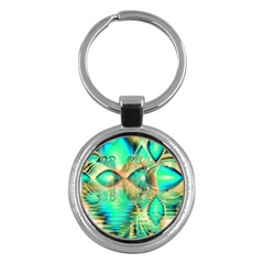 Golden Teal Peacock, Abstract Copper Crystal Key Chain (Round)