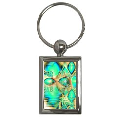 Golden Teal Peacock, Abstract Copper Crystal Key Chain (rectangle)