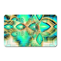 Golden Teal Peacock, Abstract Copper Crystal Magnet (Rectangular)
