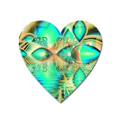 Golden Teal Peacock, Abstract Copper Crystal Magnet (Heart)