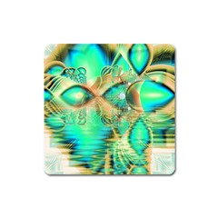 Golden Teal Peacock, Abstract Copper Crystal Magnet (Square)