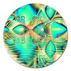 Golden Teal Peacock, Abstract Copper Crystal Magnet 5  (Round)