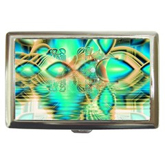 Golden Teal Peacock, Abstract Copper Crystal Cigarette Money Case