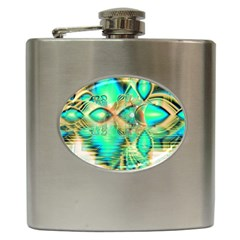 Golden Teal Peacock, Abstract Copper Crystal Hip Flask
