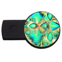 Golden Teal Peacock, Abstract Copper Crystal 2GB USB Flash Drive (Round)