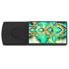 Golden Teal Peacock, Abstract Copper Crystal 1GB USB Flash Drive (Rectangle)