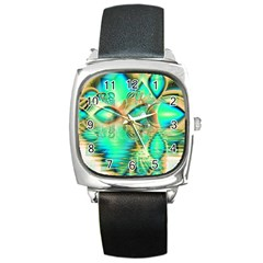 Golden Teal Peacock, Abstract Copper Crystal Square Leather Watch