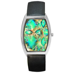 Golden Teal Peacock, Abstract Copper Crystal Tonneau Leather Watch