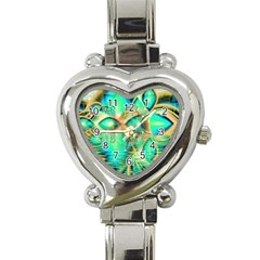 Golden Teal Peacock, Abstract Copper Crystal Heart Italian Charm Watch